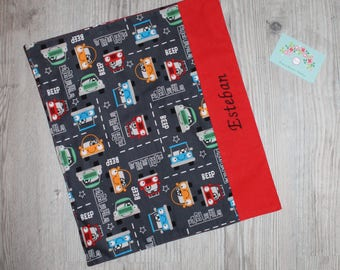 """Canteen, birthday, Easter * napkin, canteen, """"as the great"""", personalized, cotton, cars - custom"""