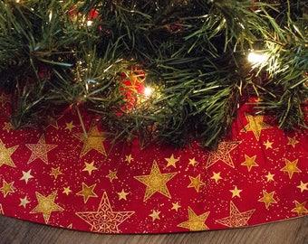 Christmas Tree Skirt-Stars-Country Christmas-Red Tree Skirt-Holiday Decor-Christmas Decoration-Christmas Tree-Tree skirt