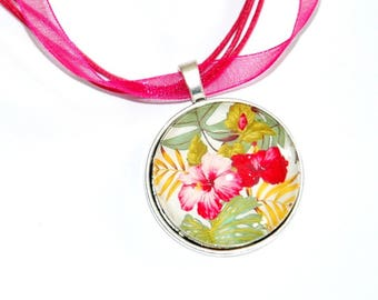 hibiscus necklace pendant