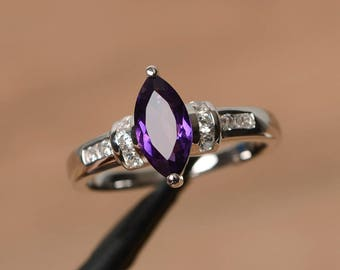 natural purple amethyst ring anniversary ring February birthstone marquise cut gemstone sterling silver ring