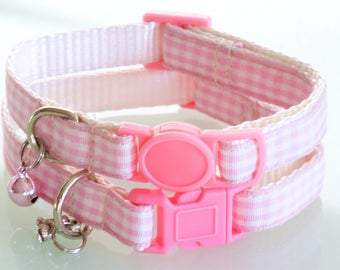 GINGHAM PALE PINK - Small Pink and White Cat or Dog Collar