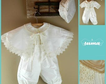 Christening Baby Boy Gown With Detachable Skirt Outfit