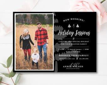 Christmas Mini Session Template, Photography Marketing, Photoshop Template, INSTANT DOWNLOAD!