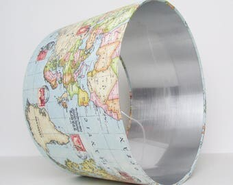 World Map and Silver Lampshade Atlas