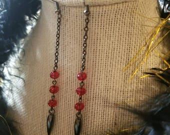 Long dangle spike earrings, gunmetal gothic spiked earrings, red crystal earrings, gothic jewelry