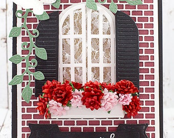 Window Box Flower Card for New Home / Homesick / Vacation / Moving