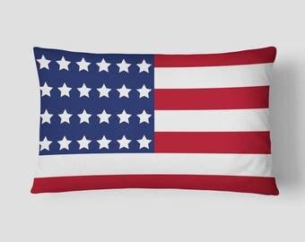Outdoor US Flag Lumbar Pillow, American Flag Cushion, Stars Stripes Cushion, Red Lumbar Pillow