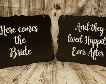 Happily Ever After Set & Here Comes The Bride 2 Piece Set Wedding Sign - Flower Girl Sign - Ring Bearer Sign - Ring Bearer - Wedding Decor
