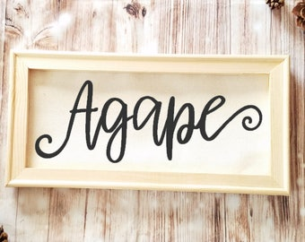 Agape Canvas 14x7 - Love Canvas - Christian Gift - Religious Decor - Encouragement Gift - Inspirational Quote - Agape is Love