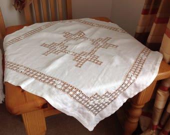 Hand stitched . Afternoon tea cloth. Vintage