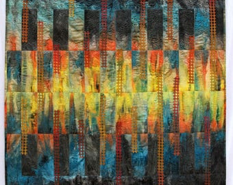 Art quilt mix media, wall hanging abstract quilt, Colorful art hand made picture wall decor, fiber art quilting, office wall decor