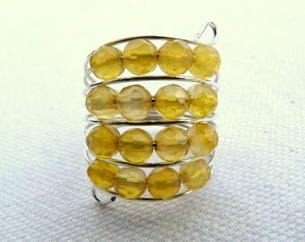 Steel ring and faceted natural stones - Yellow -