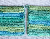 Blue and Green Striped Potholders, Pair of Crocheted Cotton Potholders or Hot Pads, Double thick, Eco-friendly Kitchen Accessories