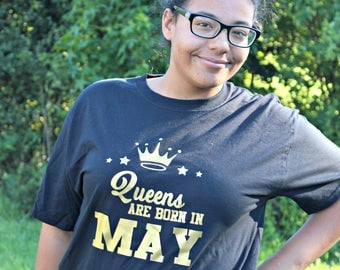 Queens are Born in August-August Birthday Shirt-Customized Birthday Shirt-Adult Clothing-September Birthday t-shirt-Queen King Shirts