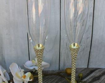 FAST SHIPPING!! Gold Swarovski Crystal Wedding toast Set, Champagne Glasses, Weeding Toasting flutes