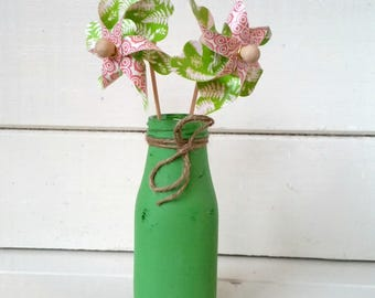 Irish Green Dairy Bottle - Chalk Painted - Rustic Distressed - Pinwheels - End of Summer Sale