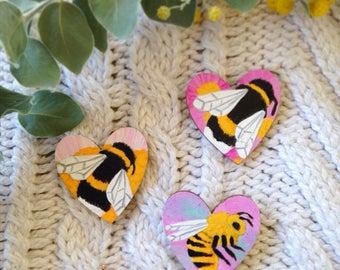Heart Shaped Bee Pin