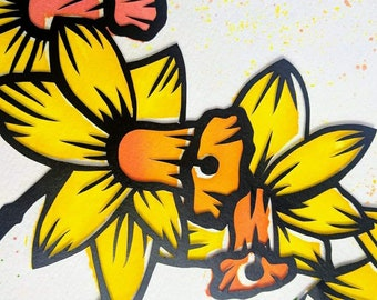 Daffodil papercut template, Spring introductory offer, Paper craft