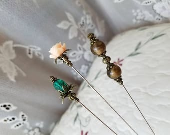 Victorian Hat Pins Set Of 3 Antique Inspired Lampwork, Peach Rose Bead & Filigree Brass Vintage Beads Stick Pin. DISPLAY or USE! W/Clutch