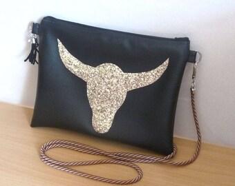 leather clutch/shoulder bag black faux leather Buffalo/Bull Head gold boho Bohemian