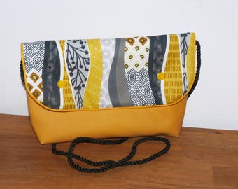 bag strap or hand bag fabric geometric yellow/grey and mustard faux leather