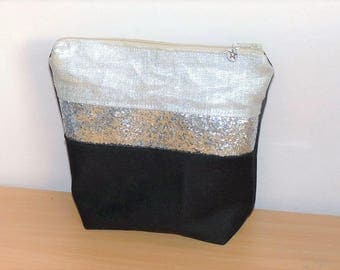 Silver lame linen and Black canvas band bag Kit, silver glitter