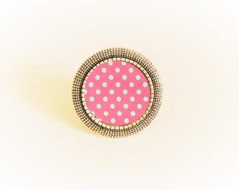 Silver ring adjustable cabochon pink dots