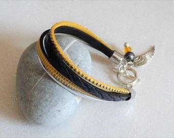 Leather Bracelet yellow saffron yellow, Navy, silver suede rhinestone wing charm