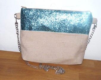 natural raffia clutch or shoulder bag, band blue glitter and silver chain