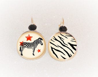 Earrings sleepers silver cabochon motits Zebra heart