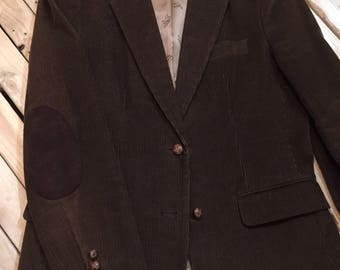 Chocolate Brown Corduroy Blazer with Elbow Patches