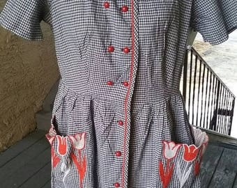 SALE Vintage 1950s full skirt Rockabilly navy and white gingham dress with red tulip pocket embroidery pin up VLV
