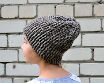 Grey Hand Knit Hat   Fashion   Accessories   Winter Hat Autumn Hat