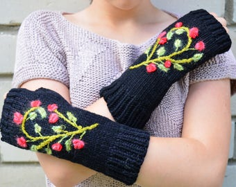 Embroidered Gloves & Mittens  Black Knitted Fingerless Gloves    Gift Idea   For Her Arm Warmers