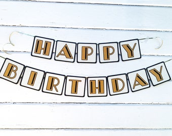 Great Gatsby Decorations - Happy Birthday Banner - Gatsby Wedding - Cheers and Beers - Roaring 20's - Birthday Banner - Birthday Decorations