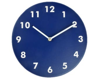 Navy blue wall clock. Modern wall clock. Numbers clock. Wood wall clock. Solid color on birch, engraved numbers.  CL4015