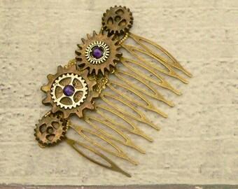 Purple Steampunk Hair Comb, Steampunk Hair Comb, Cog Hair Comb, Neo Victorian Hair Comb, Steampunk Jewellery, Steampunk Jewelry, Cog Jewelry