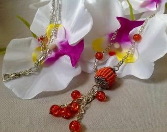 Silver mesh, Orange beads necklace