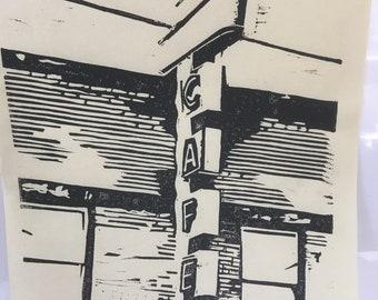 Cafe Lino Block Print 8x10