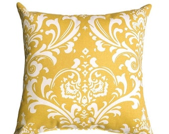 SALE Premier Prints Ozborne Corn Yellow Floral Damask Style Print Home Decor Decorative Throw Pillow Cover