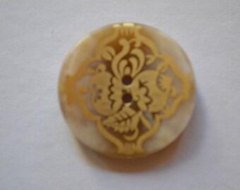 round, beige button shown, diameter 28