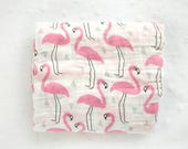 SALE Muslin Swaddle Blanket | Flamingo Swaddle | Girl Blanket | Flamingo Wrap | Baby Shower Gift