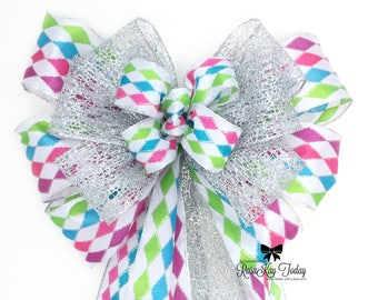 Lime Green Bow, Purple Bow, Fuchsia Bow, Bright Blue Bow, Multi-Colored Bow, Silver Bow, Harlequin Bow, Party Bow, Birthday Bow