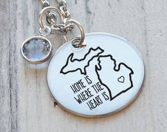 Home is Where the Heart is Michigan Personalized Engraved Necklace