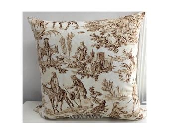Toile pillow cover Zipper Pillow Cover Decorative Brown Throw Pillow Euro Shams Throw Pillow lumbar 16x16 18x18 20x20 22x22 24x24 26x26