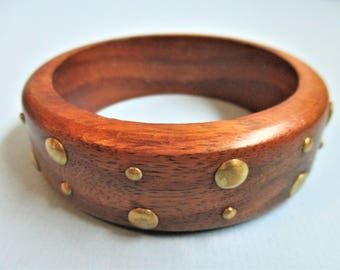 Studded Wood Bangle Bracelet Boho Style Bracelet Gold Studs Wide Bangle Bracelet Boho Style Vintage Wooden Jewelry Fall Fashion Accessory