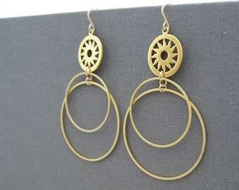 Gold Dangle Hoop Earrings with Sun Disk, nickel free minimalist statement jewelry, office work wear - Sunrise