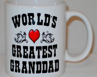 World's Greatest Granddad Mug Can Be Personalised Worlds Grandfather Grandparent Gift