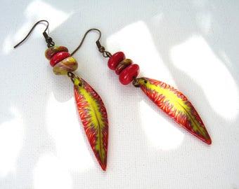 "Earrings ""Autumn wind"" beads and polymer orange green purple leaves"