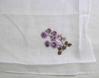 Vintage Embroidered Floral Handkerchief